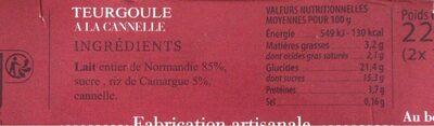 RIZ AU LAIT A LA CANELLE - Nutrition facts - fr