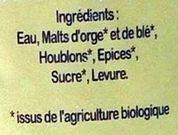 Bière biologique artisanale blanche - Ingrediënten - fr