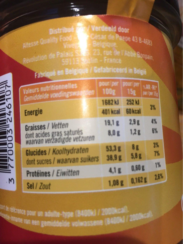 Pate a tartiner a la cassonade - Voedingswaarden