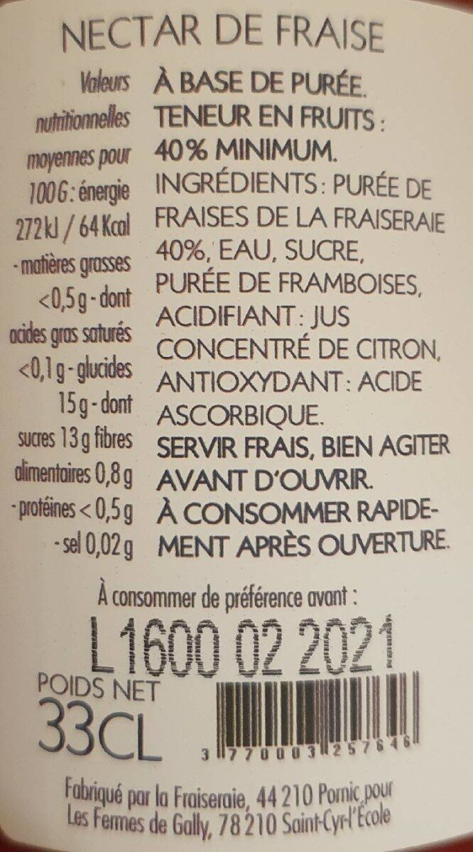 Nectar fraise - Nutrition facts - fr