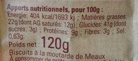 Biscuits à la moutarde - Voedigswaarden