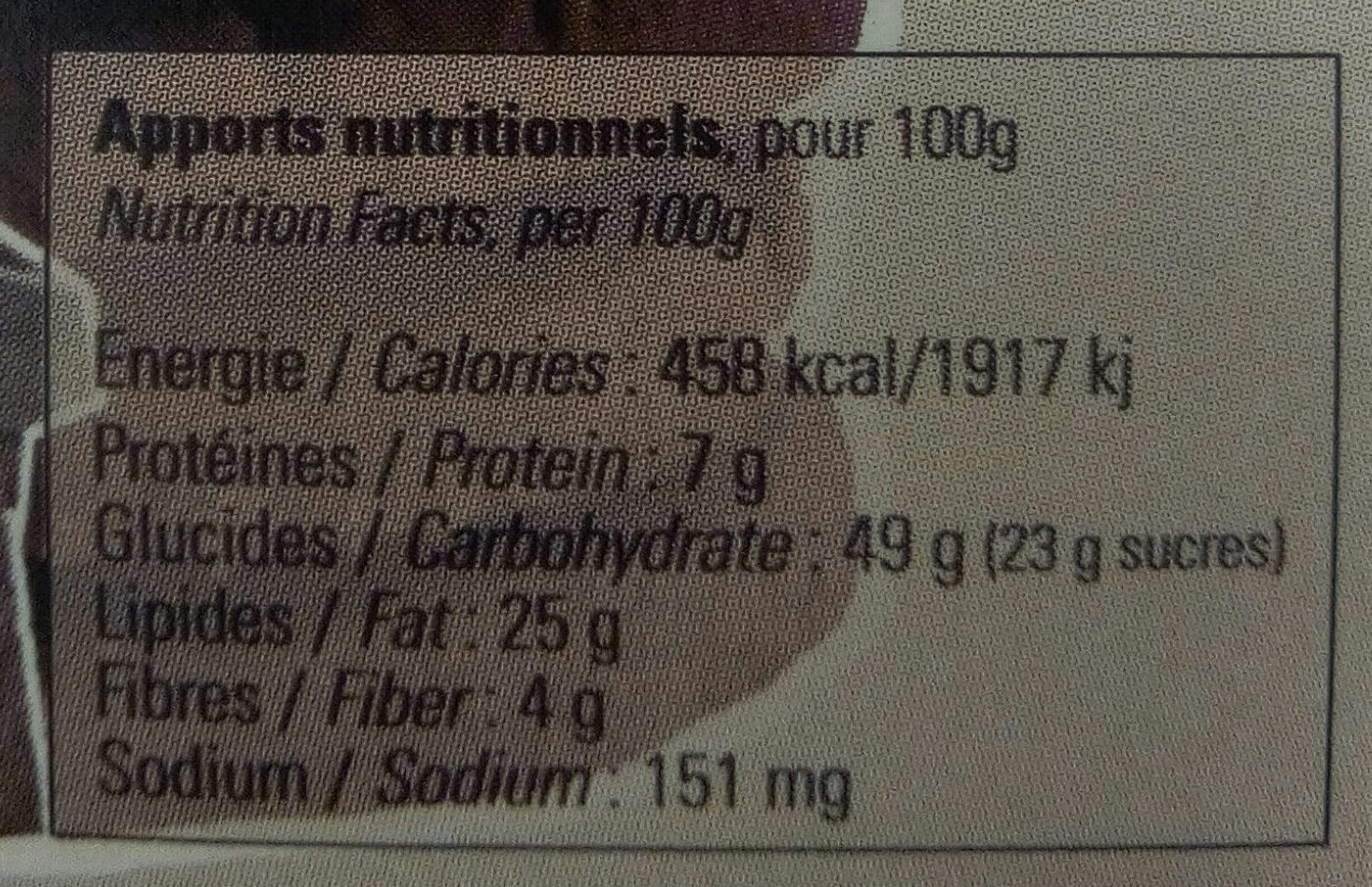 Biscuits au Chocolat - Nutrition facts