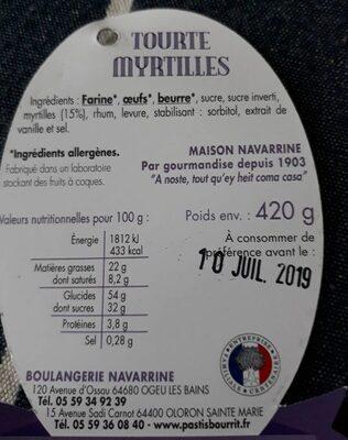 Tourte des pyrénées Myrtilles - Voedingswaarden - fr
