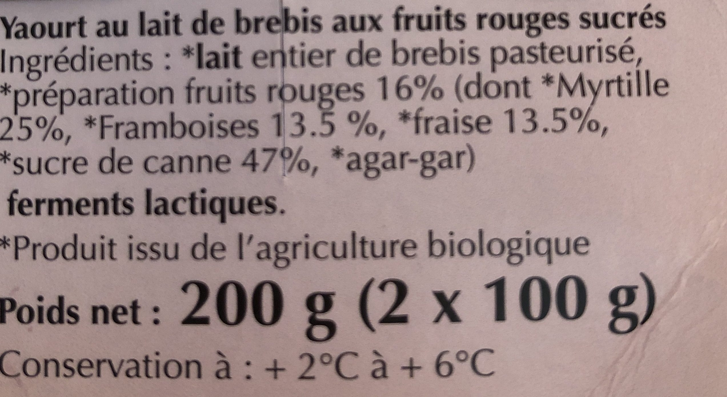Yaourt au lait de brebis bio Fruits Rouges - Ingredients