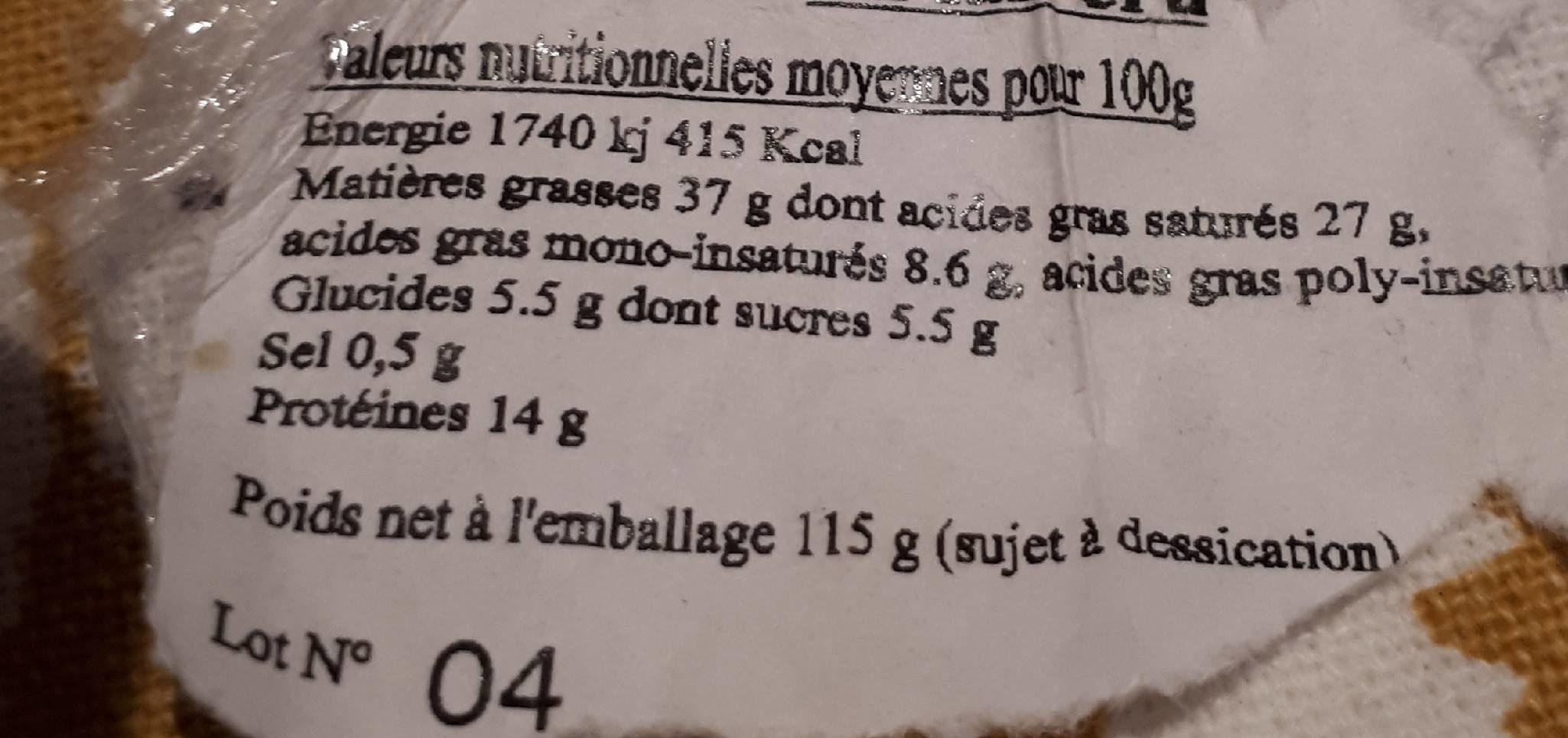 3 Fromages de chevre fermier au lait cru - Ingrediënten - fr