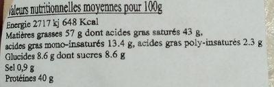 3 Fromages de chevre fermier au lait cru - Voedingswaarden - fr