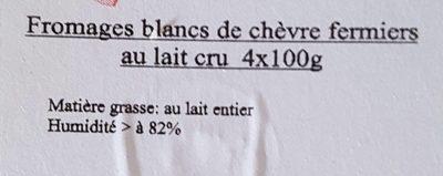 Fromage blanc de chèvre fermier au lait cru - Ingrediënten - fr