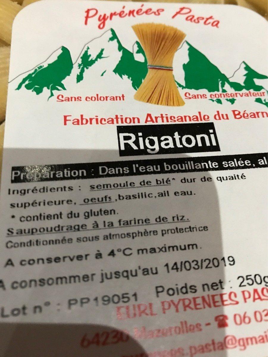 Rigatoni - Ingrédients