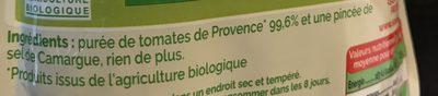 Coulis nature BIO - Ingredients - fr