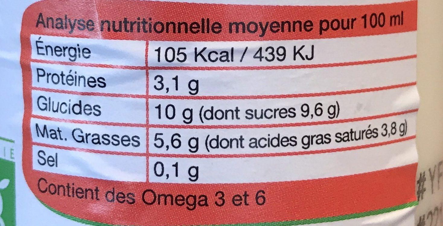 Yaourt à boire bio et local - Fraise - Nutrition facts