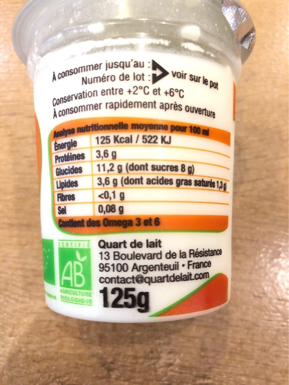 Le Petit Yaourt Bio et Local Abricot - Nutrition facts