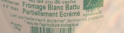 Fromage blanc battu partiellement écrémé - Ingredients - fr