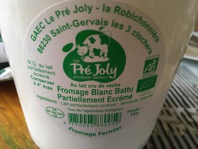 Fromage blanc battu partiellement écrémé - Nutrition facts - fr