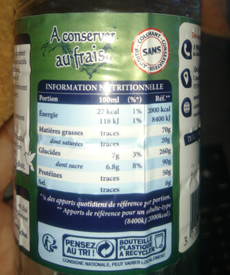 kombucha - Nutrition facts - fr