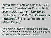 Curry de lentilles corail - Ingredients