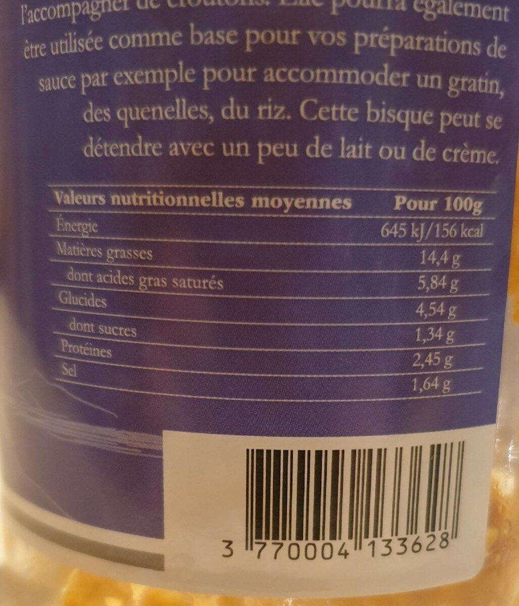 """Bisque d'écrevisses sauvages """"la Chablaisienne"""" - Nutrition facts - fr"""