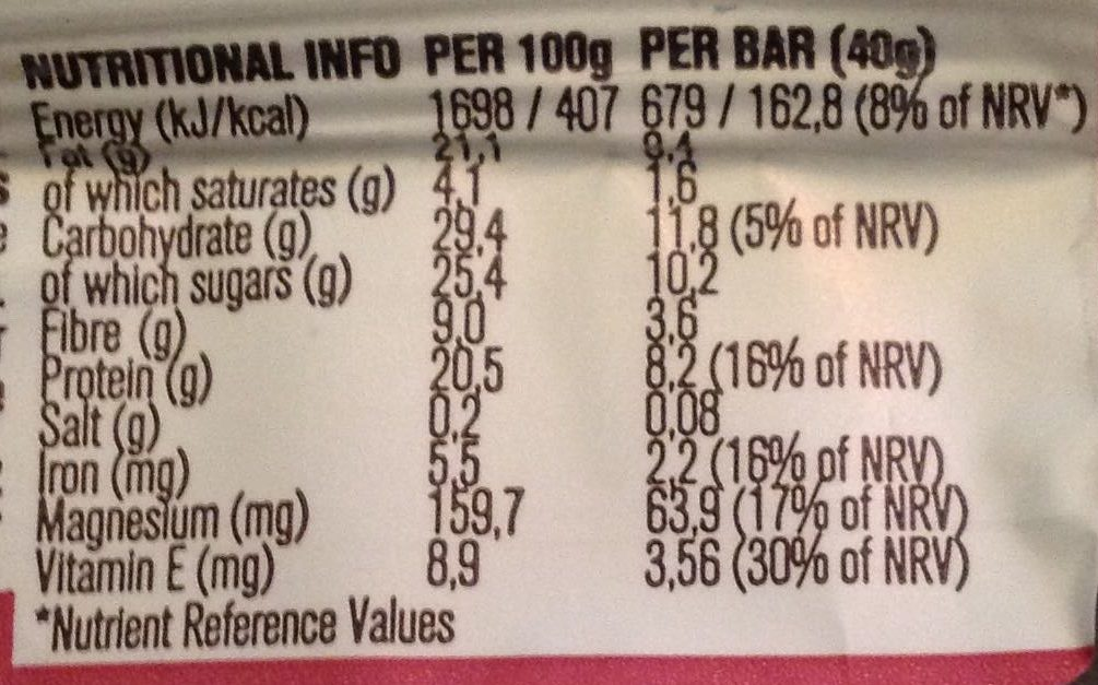 Dark Chocolate & Fig - Nutrition facts