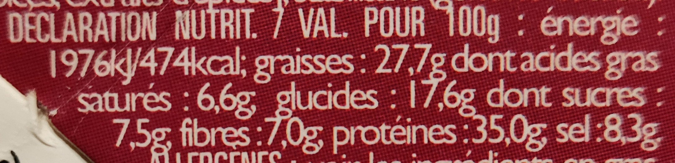 Vers Molitor Ail & Fines Herbes - Informations nutritionnelles