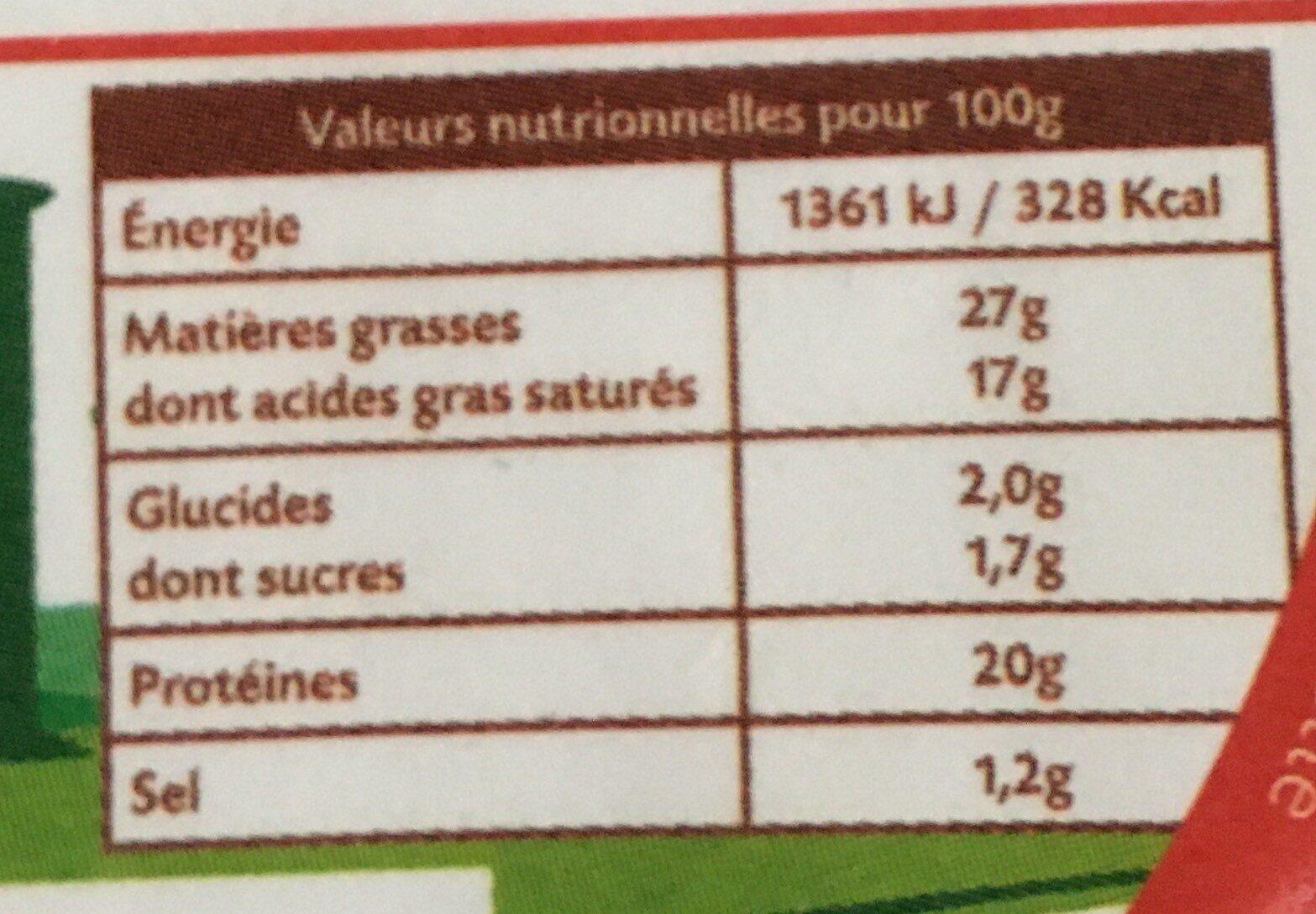 L'audincourtois - Informations nutritionnelles - fr