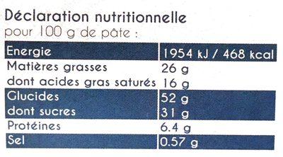 Mamm pâte à cookies - Informations nutritionnelles