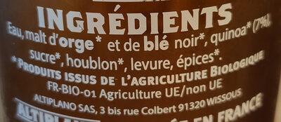Bière bio au quinoa - Ingredients - fr