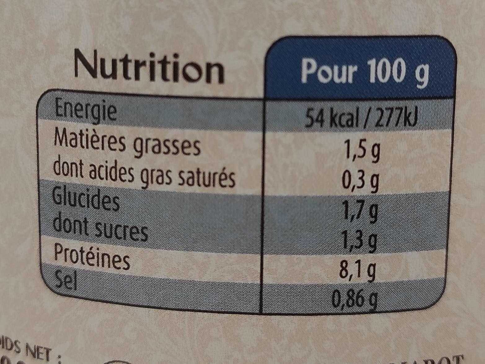 Soupe des ports du Croisic et de La Turballe - Información nutricional - fr