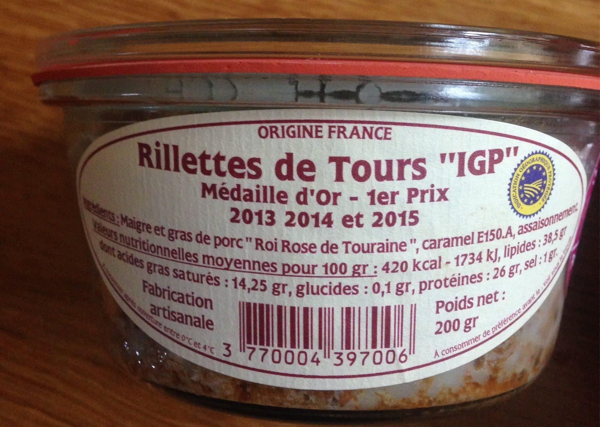 Rillettes de Tours «IGP» - Informations nutritionnelles - fr