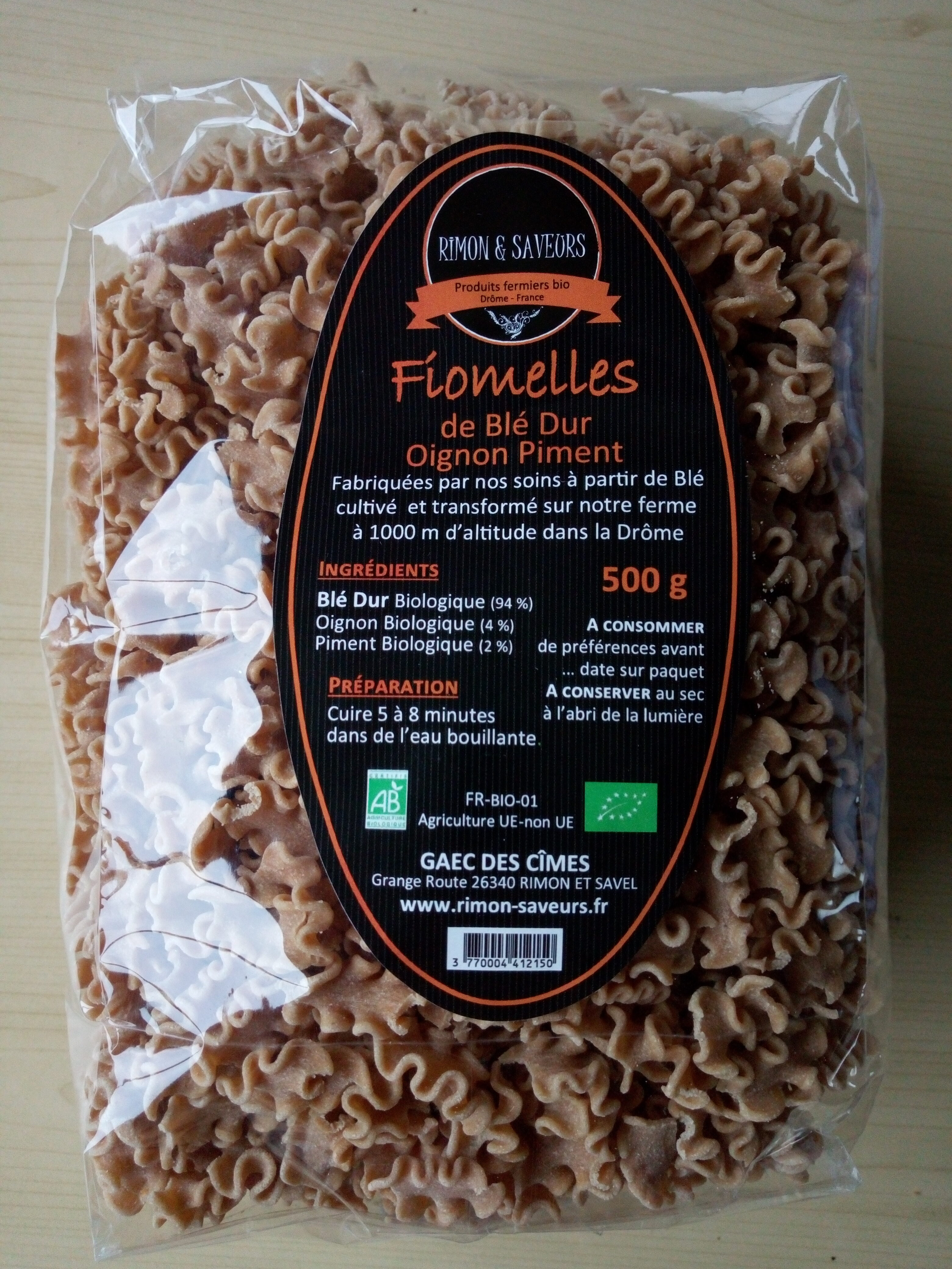 Fiomelles de blé dur oignon piment - Recycling instructions and/or packaging information - fr