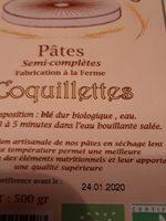 Pâtes semi-complètes - Ingrédients - fr