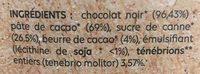 Chocolat noir aux Ténébrions - Ingrédients - fr