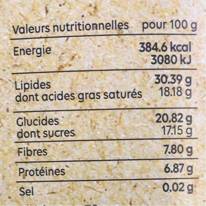 Chocolat noir aux Ténébrions - Informations nutritionnelles - fr