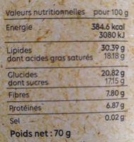 Chocolat Noir Ténébrio - Nutrition facts - fr