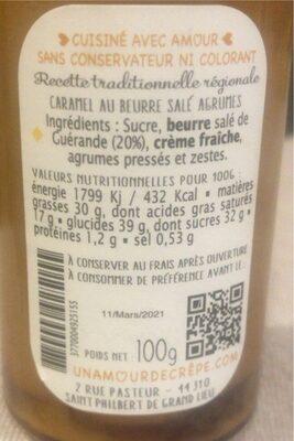 Caramel Beurre salé Agrumes - Informations nutritionnelles - fr