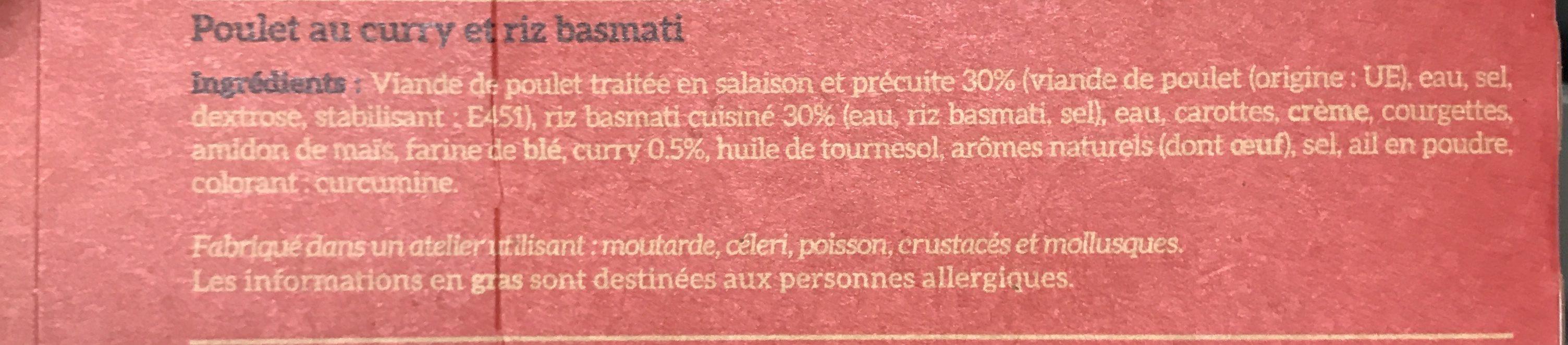 Poulet au curry & riz basmati - Ingredients