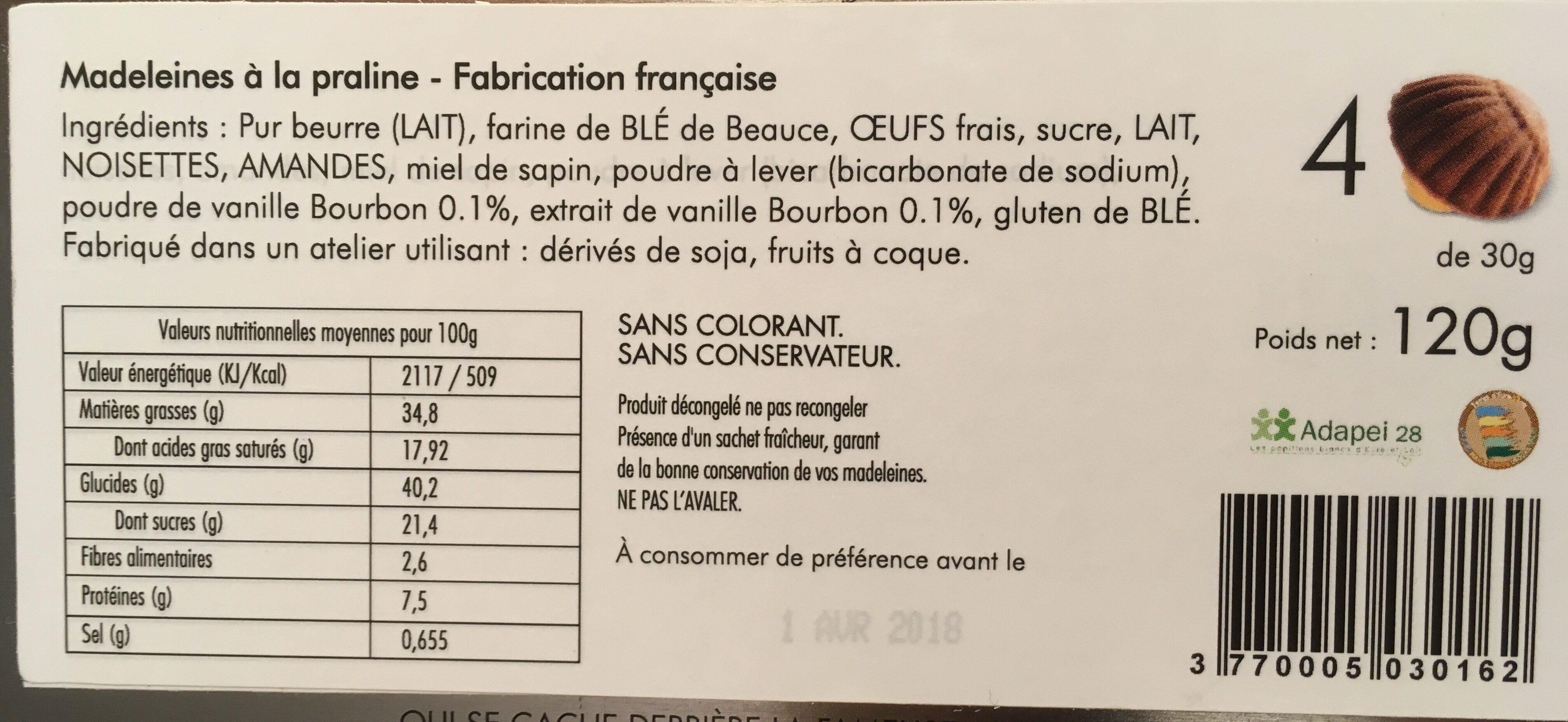 La Fameuse Madeleine - Ingrédients - fr