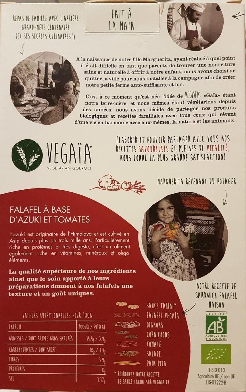 Falafel haricots azuki et tomates - Informations nutritionnelles