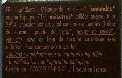 Pâte à Tartiner Bio Chocolat Sans Sucres Ajoutés - Ingredienti