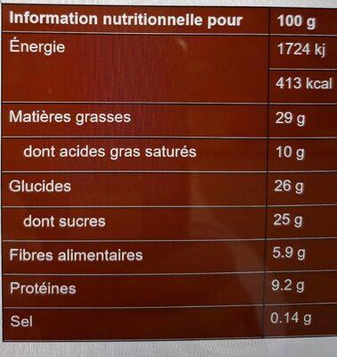 Pâte à Tartiner Bio Chocolat Sans Sucres Ajoutés - Valori nutrizionali - fr