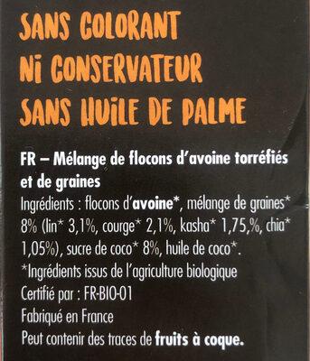 Granola Super Graines - Ingrédients