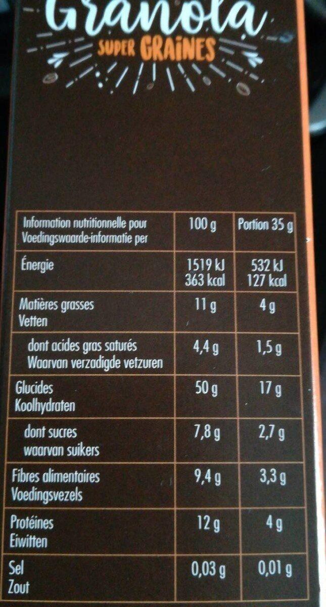 Granola Super Graines - Informations nutritionnelles - fr
