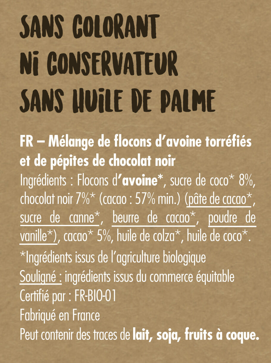 Granola Chocolat Noir - Ingrédients
