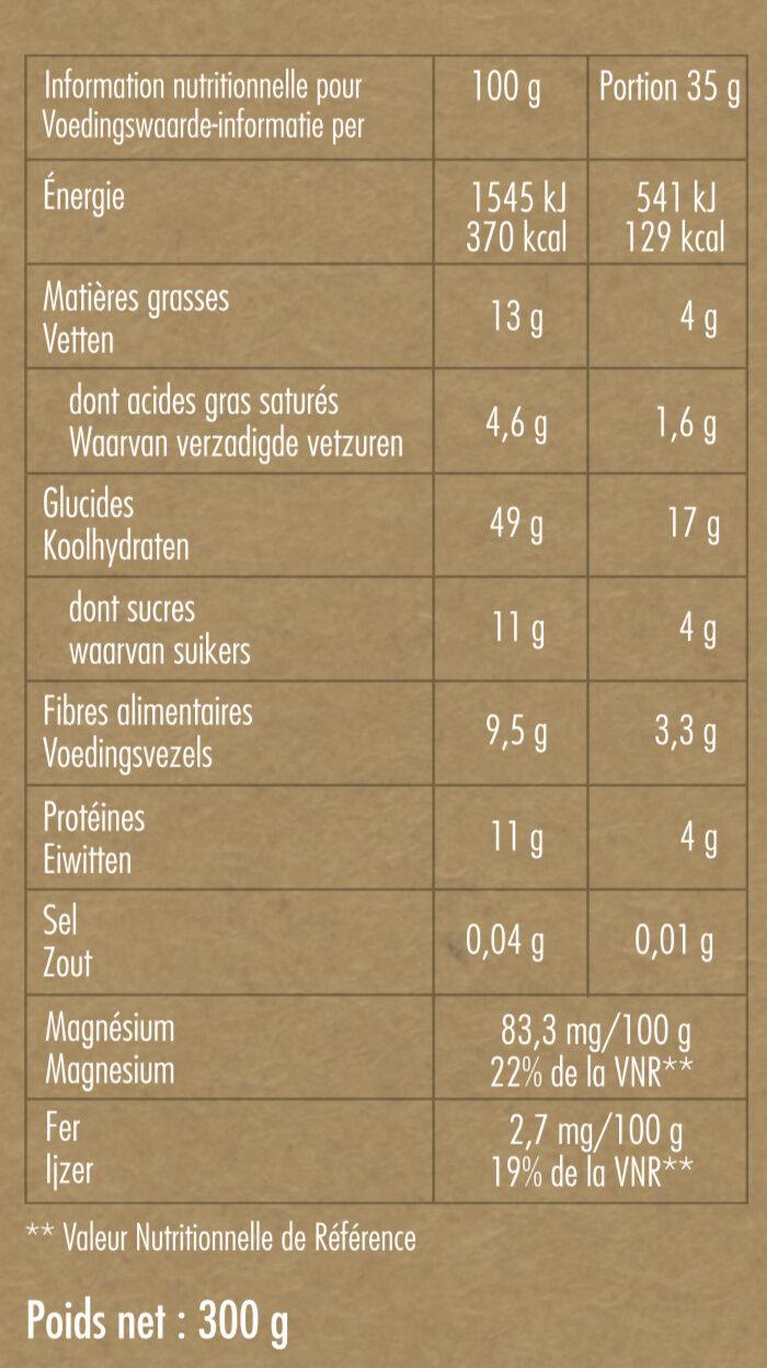 Granola Chocolat Noir - Informations nutritionnelles