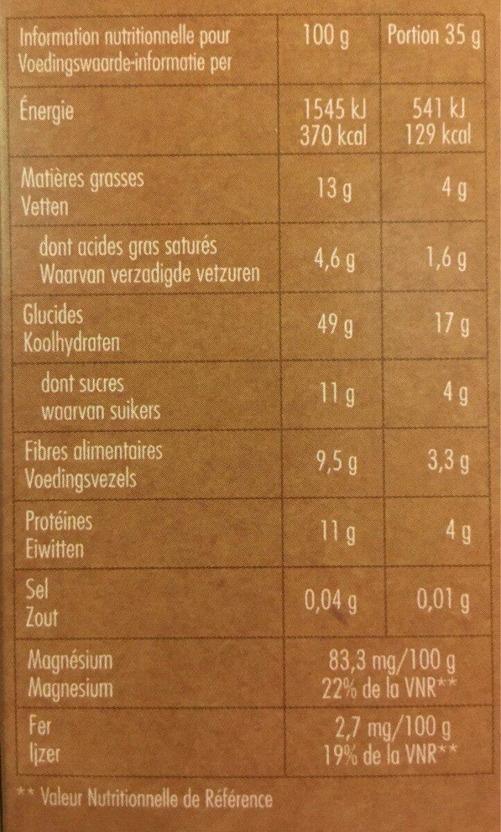 Granola chocolat noir - Informations nutritionnelles - fr