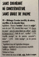 Granola Mûres Myrtilles et Chocolat Blanc - Ingrédients
