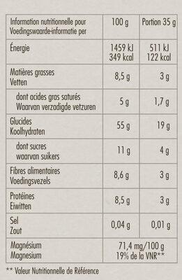 Granola Mûres Myrtilles et Chocolat Blanc - Informations nutritionnelles - fr