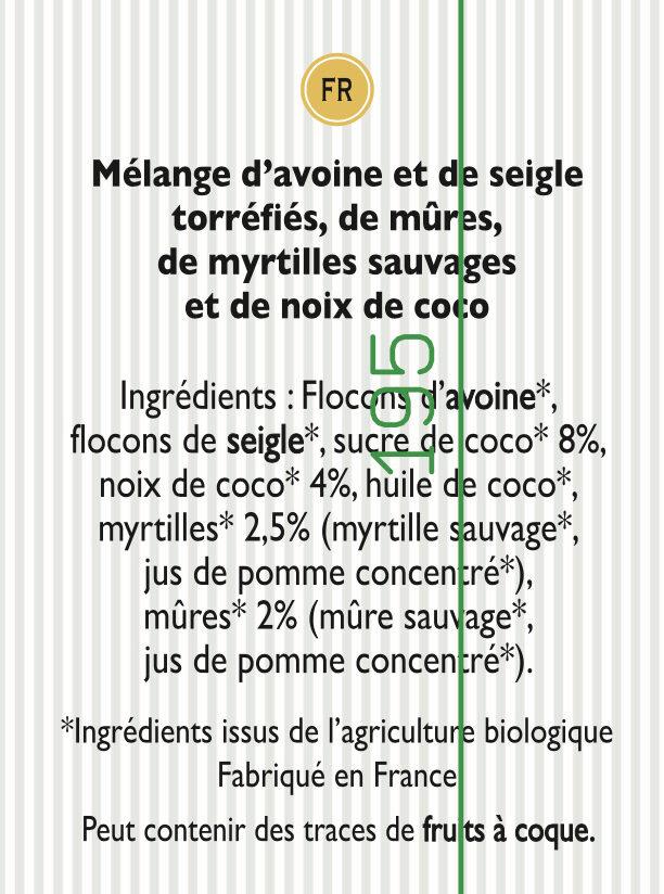 Granola Mûres et Myrtilles sauvages et Noix de Coco - Ingrédients - fr