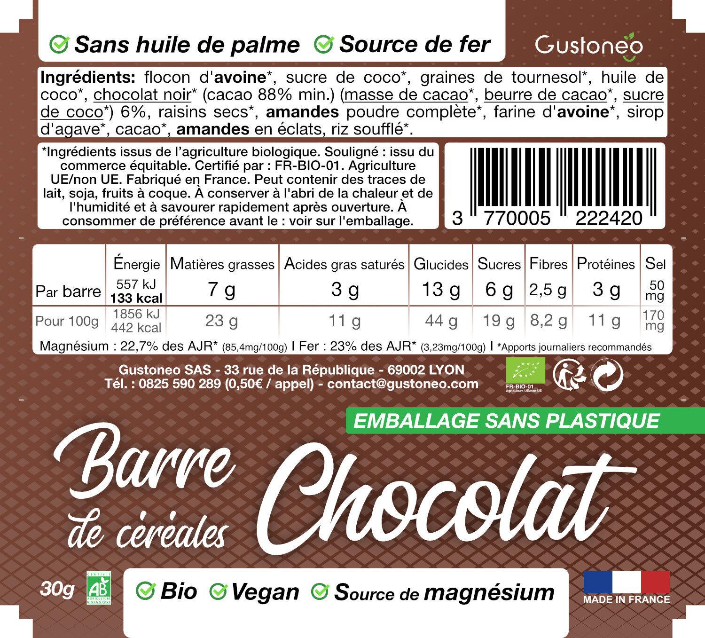 Barre de céréales Chocolat - Ingredients