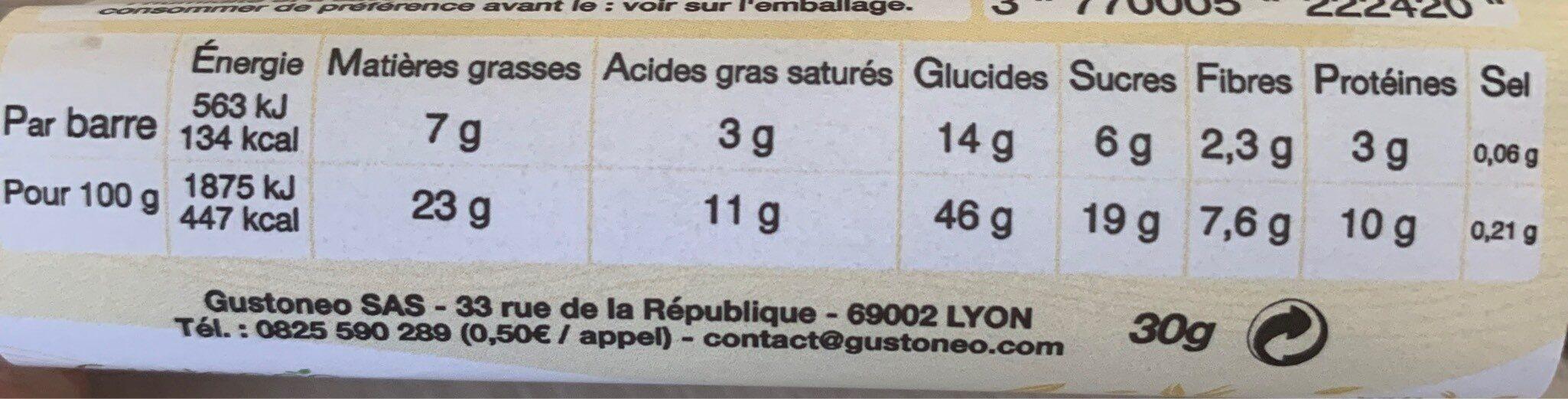 Barre de céréales - Informations nutritionnelles - fr