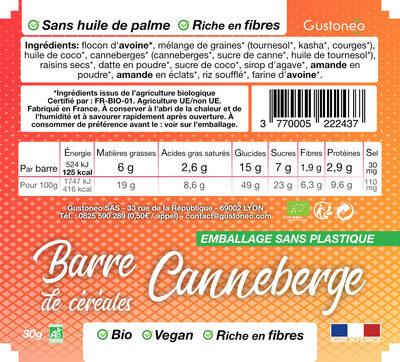 Barre de céréales Canneberge - Informations nutritionnelles - fr