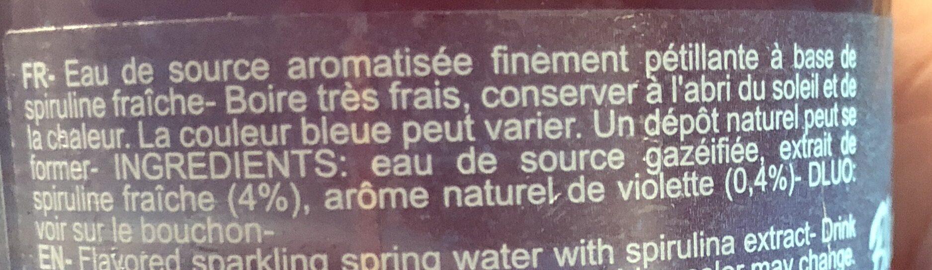Eau De Source Aromatisée Finement Pétillante à Base De Spiruline - Ingrédients